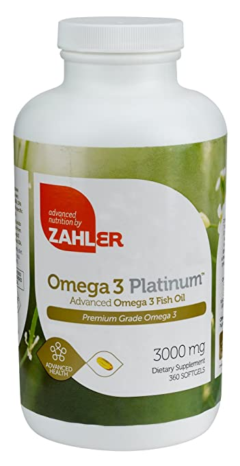 Zahler Omega 3 Platinum 3000mg, Triple Strength All-Natural Pure Fish Oil Supplement, Burpless Softgel with No Fishy Aftertaste, Highest in EPA and DHA,Certified Kosher, 360 Softgels