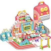 O WOWZON Doll Houses Portable for Indoor for Girls Compatible with Barbie Dolls, Toy House with Musical Pretend Play…