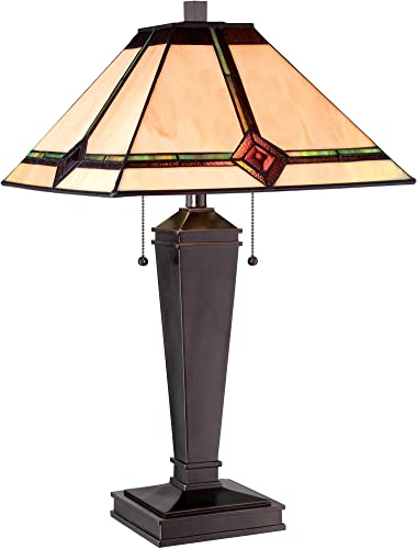 Lite Source LS-22040 Table Lamp with Amber Tiffany Shades, Bronze Finish