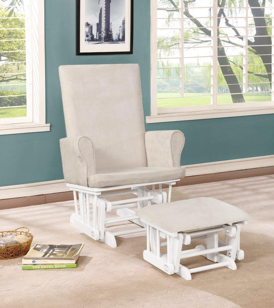 Naomi Home Mateo Wood & Upholstered Glider and Ottoman Set White/Cream by Naomi Home