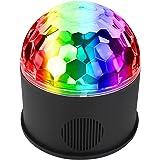 iHOVEN ステージライト 舞台照明 Bluetooth ワイヤレス ディスコライト スピーカー内蔵 音楽再生 音声制御 マジックボール クリスタル RGB多色変化 コンパクト エフェクトライト 回転ライト 水晶魔球 ミラーボール 誕生日 ダンス お祝い 雰囲気を盛り上げる 多機能 LEDライト 投影ライト リモコンコントロール 多機能 LEDライト 投影ライト 照明用ライト クリスマスライト (S)