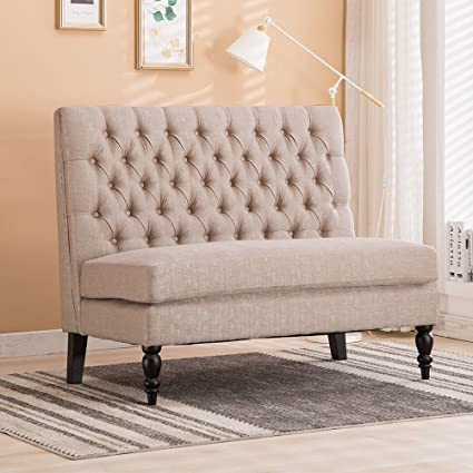 Modern Settee Bench Banquette Loveseat Button Tufted Fabric Sofa Couch  Chair 2 Seater Light Khaki