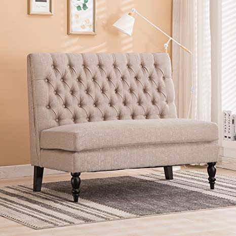 Marvelous Modern Settee Bench Banquette Loveseat Button Tufted Fabric Sofa Couch Chair 2 Seater Light Khaki Gmtry Best Dining Table And Chair Ideas Images Gmtryco
