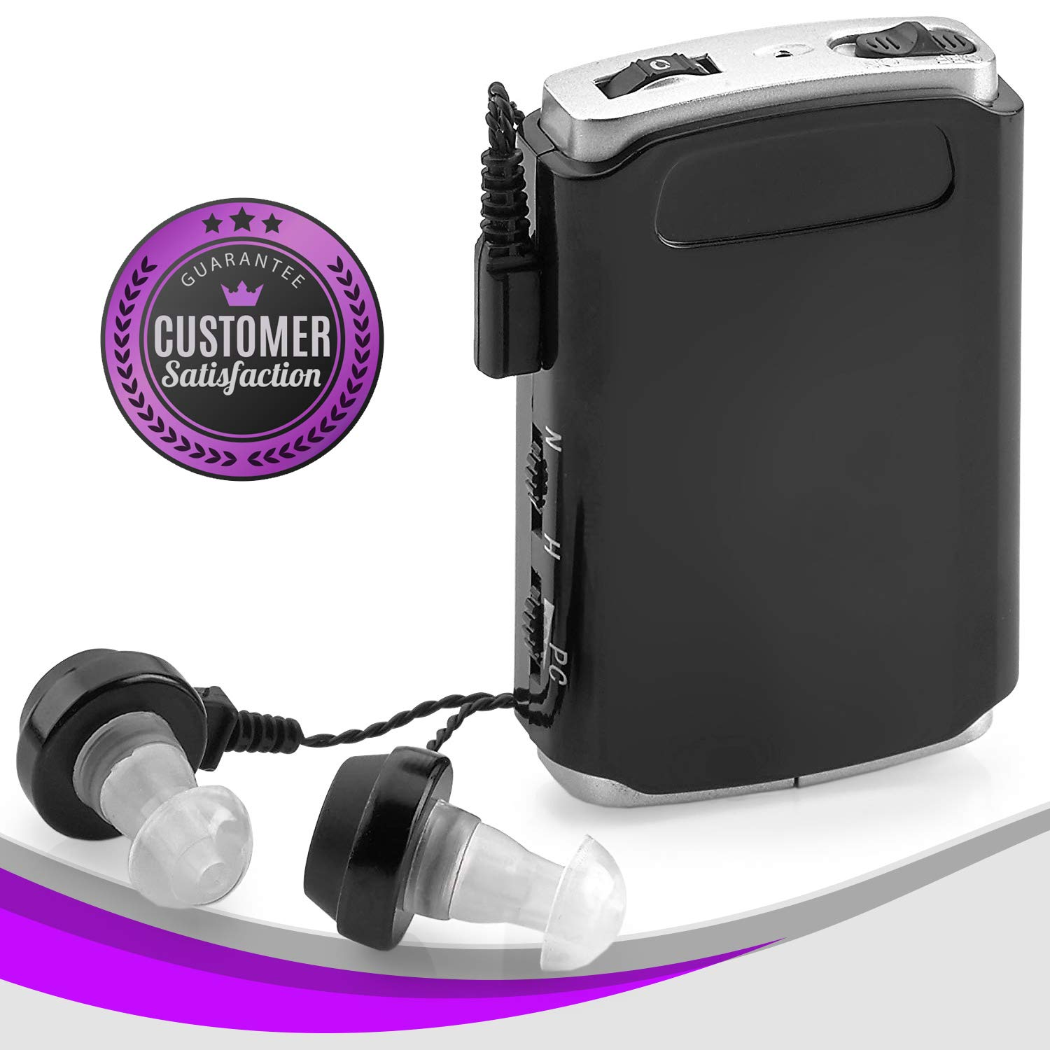 Sound Amplifier - Pocket Sound Voice Enhancer Device with Duo Mic/Ear Plus Extra Headphone and Microphone Set, Personal Hearing Amplifier Device by MEDca by MEDca
