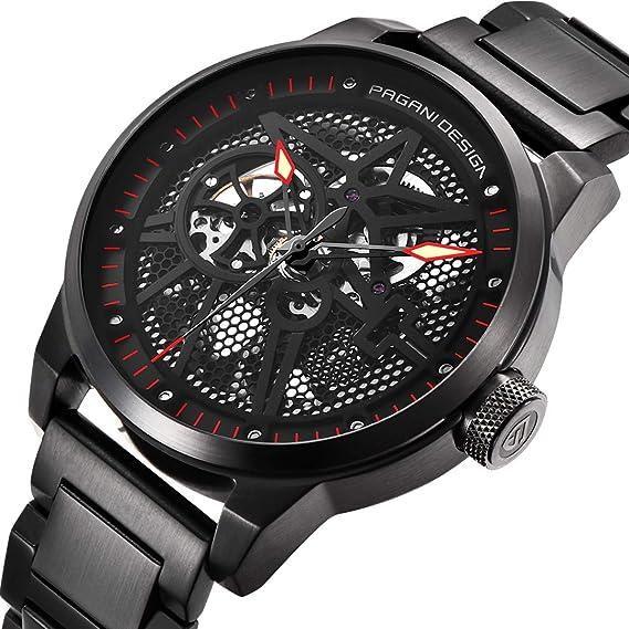 Reloj mecánico automático con diseño de Pagani para Hombre, Esfera analógica de Cuerda automática, diseño Hueco, Correa de Acero de Lujo de Alta Gama.