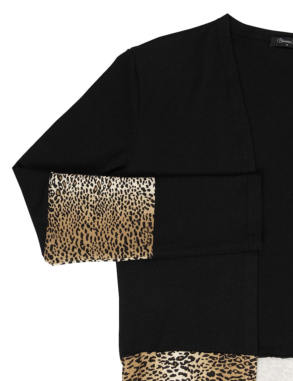 Blooming Jelly Womens Longline Knit Cardigan Long Sleeve Open Front Sweater Leopard Patch Pocket Tops(Black,M=UK 10-12)