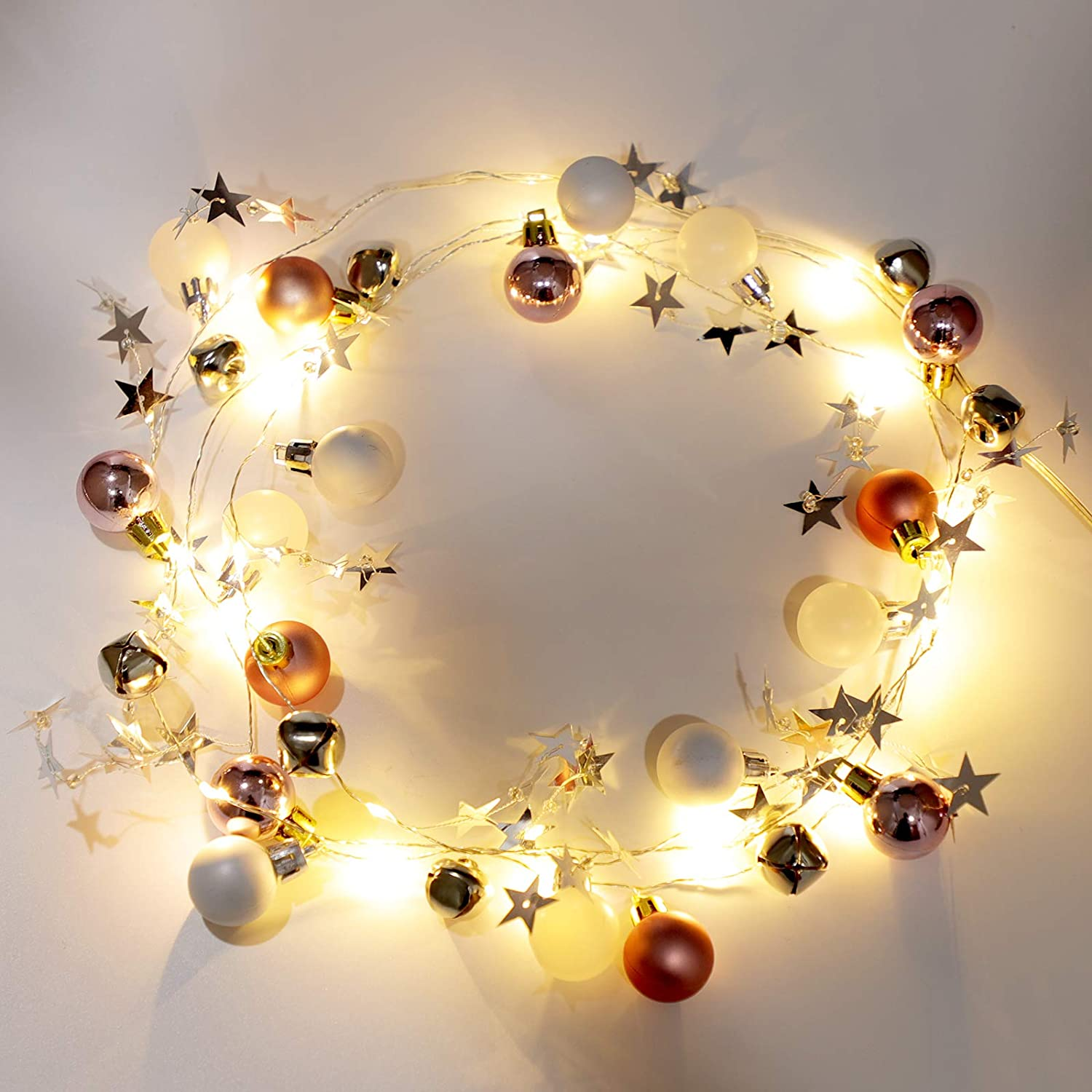 2020 Newest Christmas String Lights 20 LED Battery Powered, 6.6 FT Fairy Lights with Bells and Star Ornaments Home Decor, Christmas, Holiday, Party Decoration, Pink & White Ball
