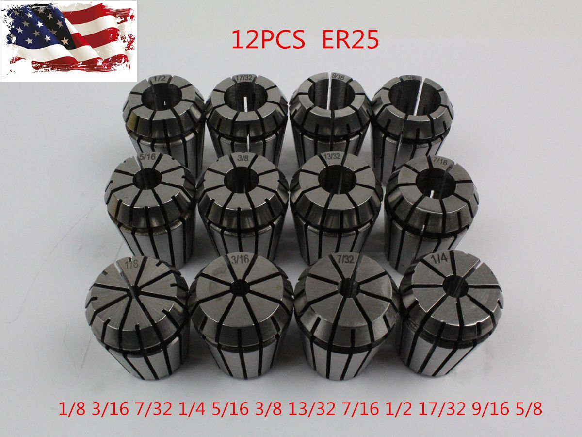 New 12Pcs ER25 Spring Collet Set For CNC Milling Lathe Tool Engraving Machine