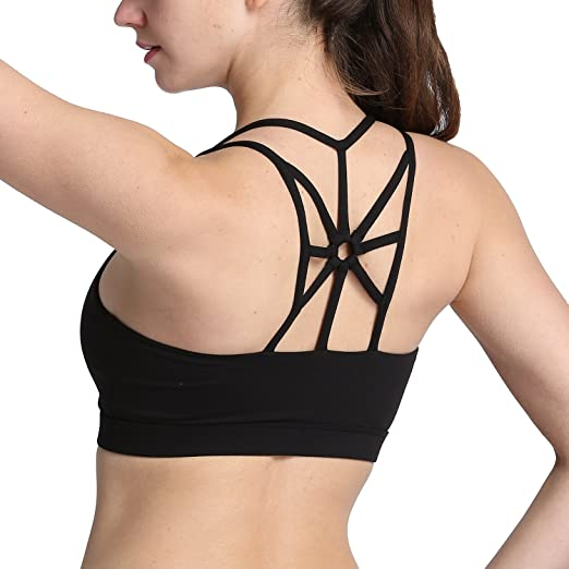 8339e66931608 Image Unavailable. Image not available for. Color  Women s Padded Sports Bra  High Impact Strappy Yoga Bras Cross Back