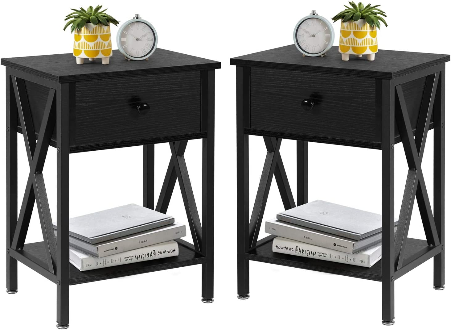 VECELO Modern Versatile Nightstands X-Design Side End Table Night Stand Storage Shelf with Bin Drawer for Living Room Bedroom, Set of 2 (Black)