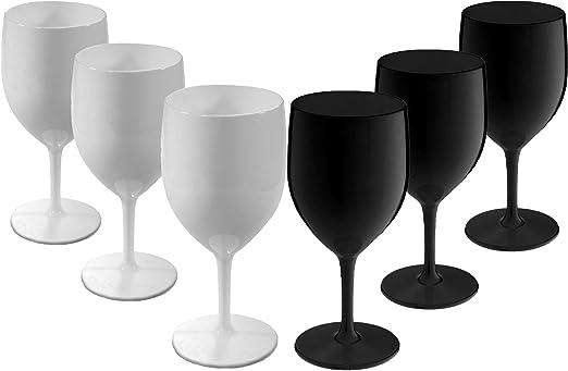 Virtually Glass MIXE Ensemble de 6 Verres à vin Noir et
