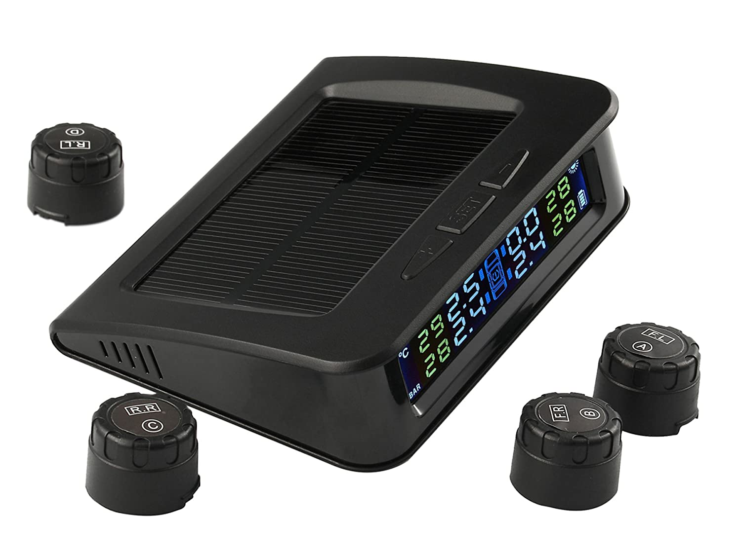 TPMS Solar Power Universal Wireless Tire Pressure Monitoring System with 4 External Sensors to Monitor and Display the Pressure and Temperature of 4 Tires in Real-time Beipuit
