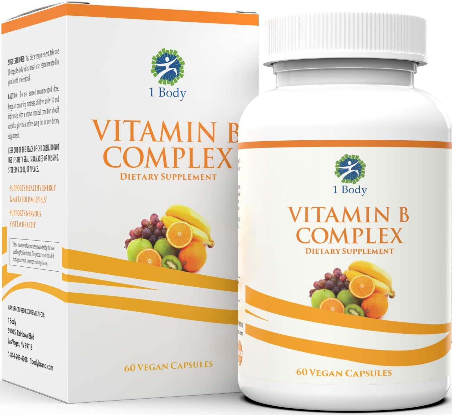 Vitamin B Complex – 5-MTHF Folate with B1, B2, B5, B6, Methyl B12, Niacin, Biotin – Wide Range of Benefits for Stress, Heart Health, Healthy Brain Function, Nervous System Support