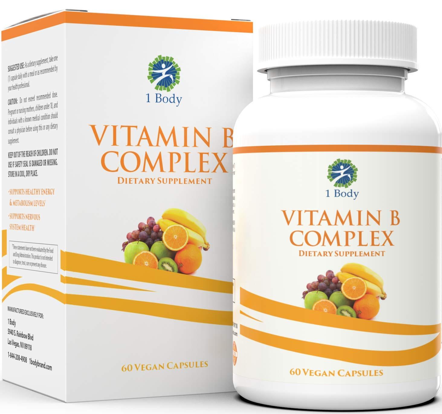 Vitamin B Complex - 5-MTHF Folate with B1, B2, B5, B6, Methyl B12, Niacin, Biotin - Wide Range of Benefits for Stress, Heart Health, Healthy Brain Function, Nervous System Support