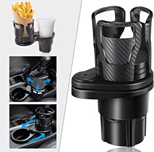 2 in 1 Multifunctional Car Cup Holder, Vehicle Mounted Universal Water Cup Drink Holder Extender Extendable Adapter with 360 Degree Rotatable Base Special Bottle Holder Adjust Size (Carbon Black)