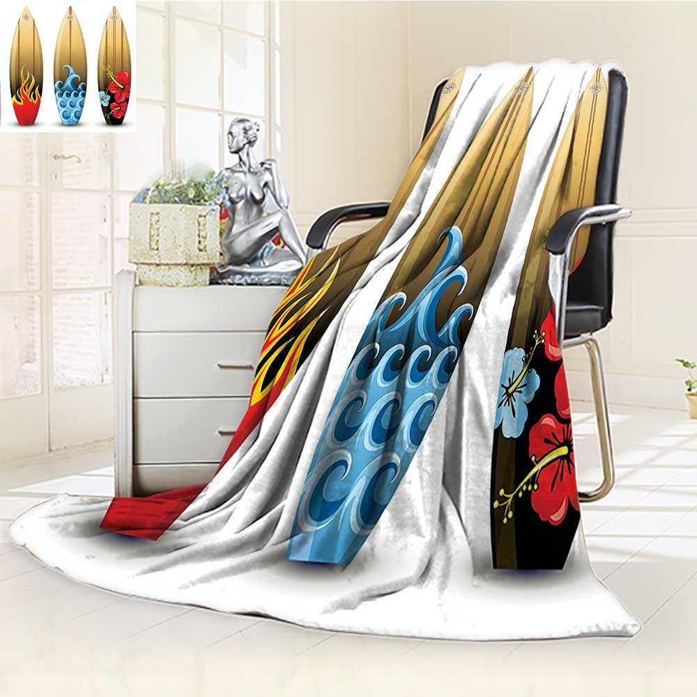 YOYI-HOME Digital Printing Duplex Printed Blanket Wood Surfboards with Floral Sea and Fire Themed Summer Image Red Blue Peru Summer Quilt Comforter /W31.5 x H47
