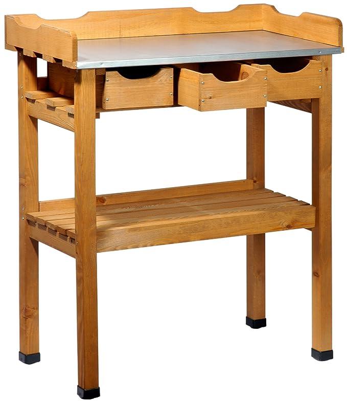 2 opinioni per dobar 29030e tavolo Pratico piantare con 3 cassetti e 2 ripiani in legno di pino