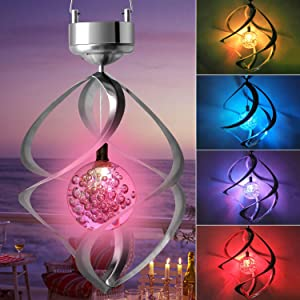 zhengshizuo Solar Light Rotating Wind Chimes Lights Waterproof Hanging Solar Powered Color Changing Spiral Spinner LED Lamp Mom Best Gift for Garden Yard Lawn Balcony Porch