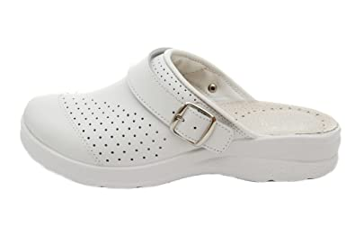 Dr Punto Rosso Medical Comfort 100SB Komfortschuhe Lederschuhe Pantolette Clog Damen, Weiß, EU 39