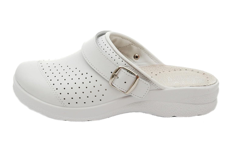 Dr Punto Rosso Medical Comfort 812SBR Zoccoli Sabot Pantofole Scarpe Pelle DonnaBianco