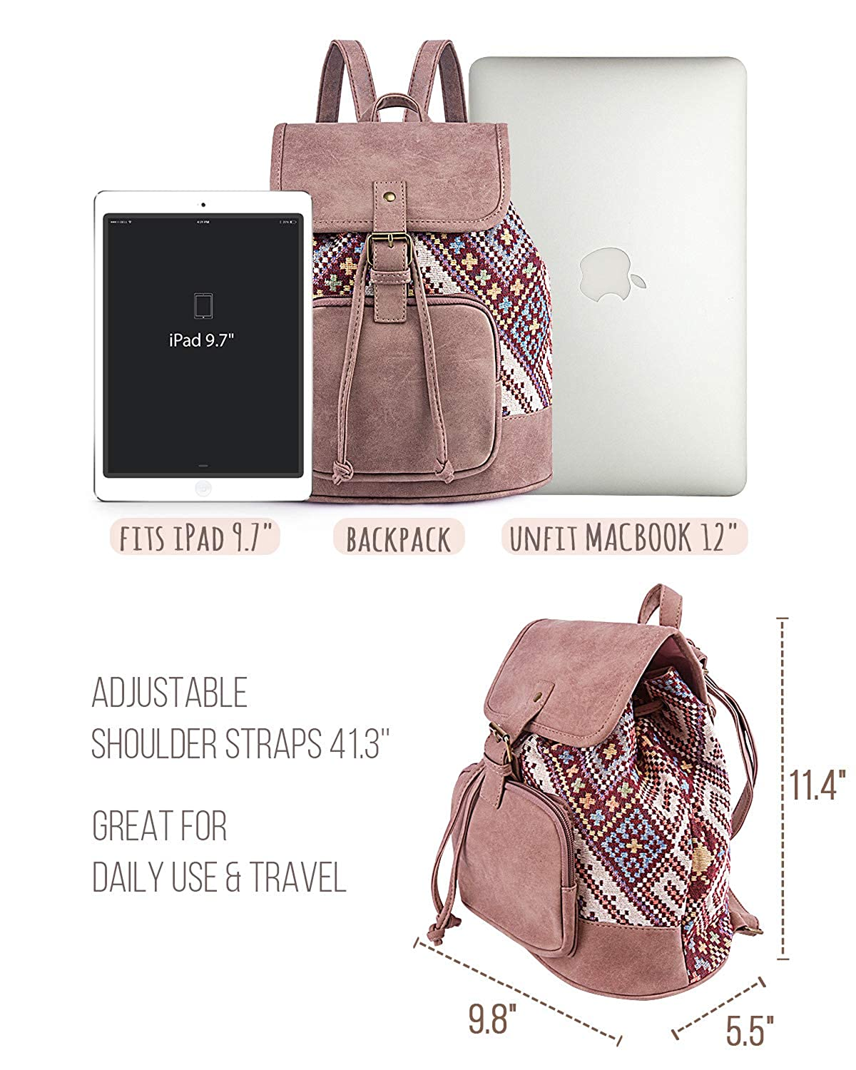 a8de1d7a5d Amazon.com  Lily Queen Fashion Small Purse Backpack Lightweight for Women  and Teen Girls Colorful (Pink Plaid)  Clothing