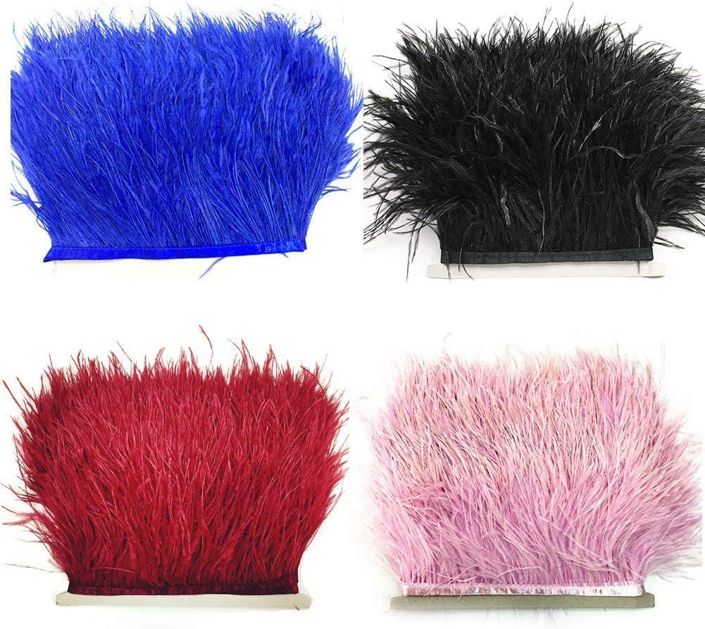 Free Size TXYFYP Frange Plume Accessoires Main Autruche Bords Artisanat Bandeau Stage V/êtements Ruban Robe Couture Satin Doux Costumes D/écoration Bricolage Rose