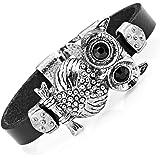 Stunning Leather Crystal Black Owl Cuff Bracelet (Silver Color)