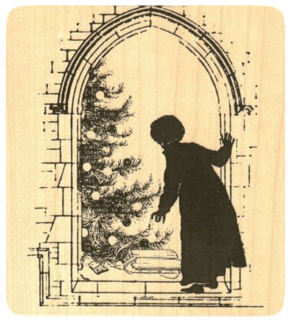 {Single Count} Unique & Custom (3 1/2'' by 4 1/4'' Inches) ''Xmas Tree, Christmas Morning Scene'' Square Shaped Genuine Wood Mounted Rubber Inking Stamp