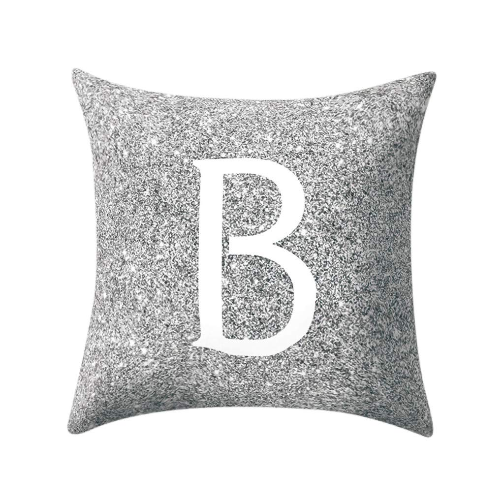 Letter Pillow Case Covers Metallic Throw Pillow Case 18x18'' A-Z Letter Alphabets Cushion Cover for Home Sofa Couch Decor (B)