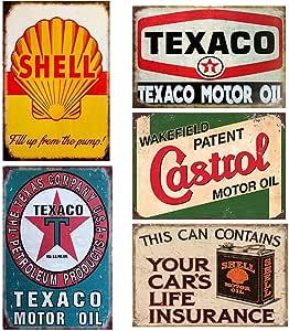 FlowerBeads 5PCS GAS Motor Oil Antique Tin Signs, Vintage Garage Man Cave Retro Posters Bar Pub Wall Decor - 20X30cm