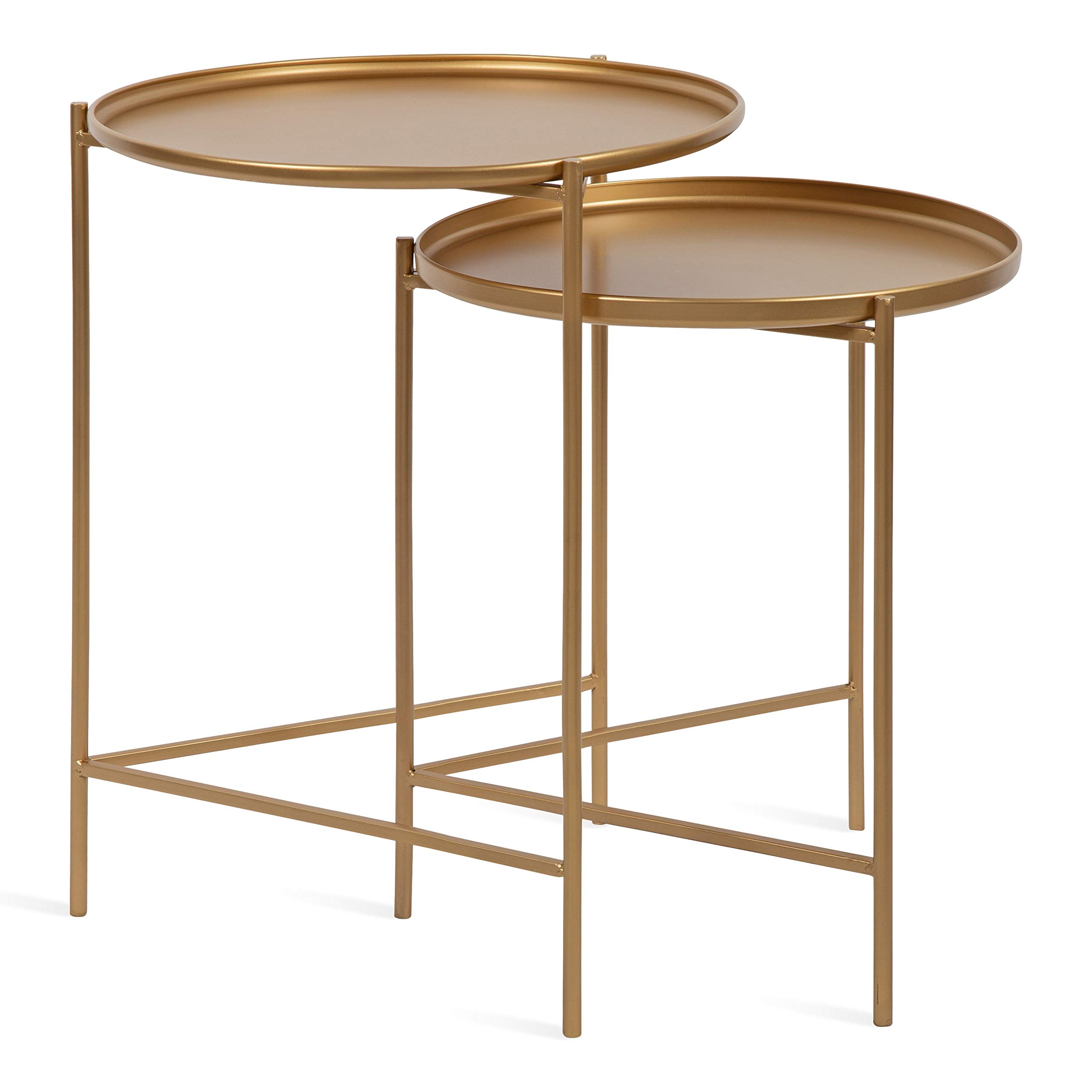Kate and Laurel Ulani Set of 2 Modern Glam Nested Round Metal End Tables, Gold by Kate and Laurel