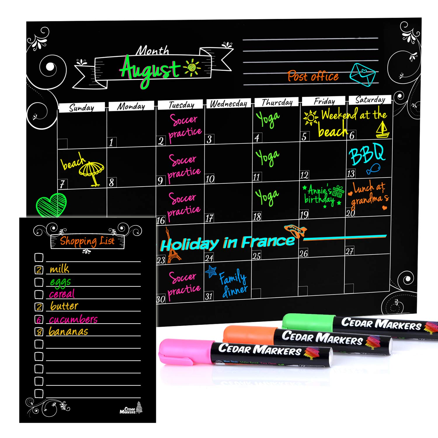 "Cedar Markers 16""x12"" Magnetic Calendar for Refrigerator and Magnetic Grocery List for Fridge with Free Chalk Markers. Dry Erase Calendar for Monthly Planning Kindergarten Calendar (Black)"