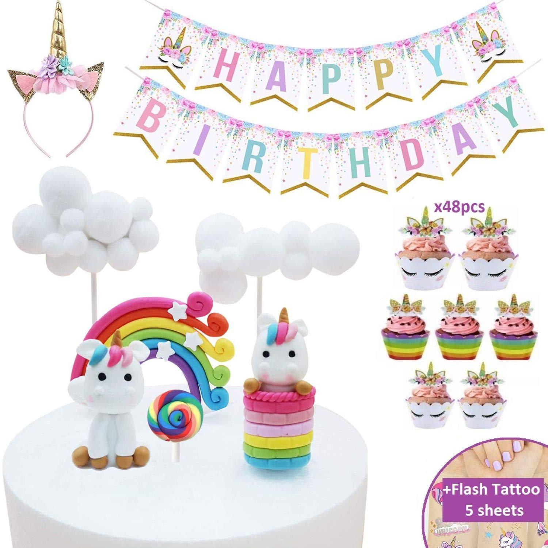 Makadami Unicorn Cake Topper - Unicorn Cake Decorations - Unicorn Cupcake Topper - Unicorn Horn Headband - Unicorn Party Decorations - Unicorn Cupcake Decorations - Unicorn Cake Decorating Kit by Makadami