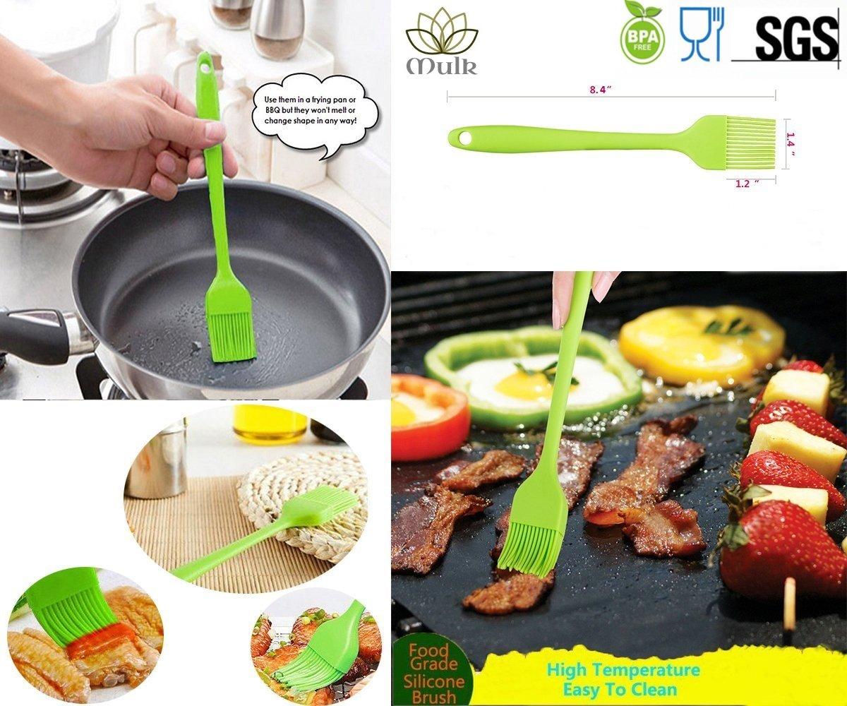 Mulk Pastry Basting Brush set Silicone rubber material, BBQ Basting Brush Set, Heat Resistant, For Kitchen Grilling Camping & Dishwasher Safe (Set of 4)