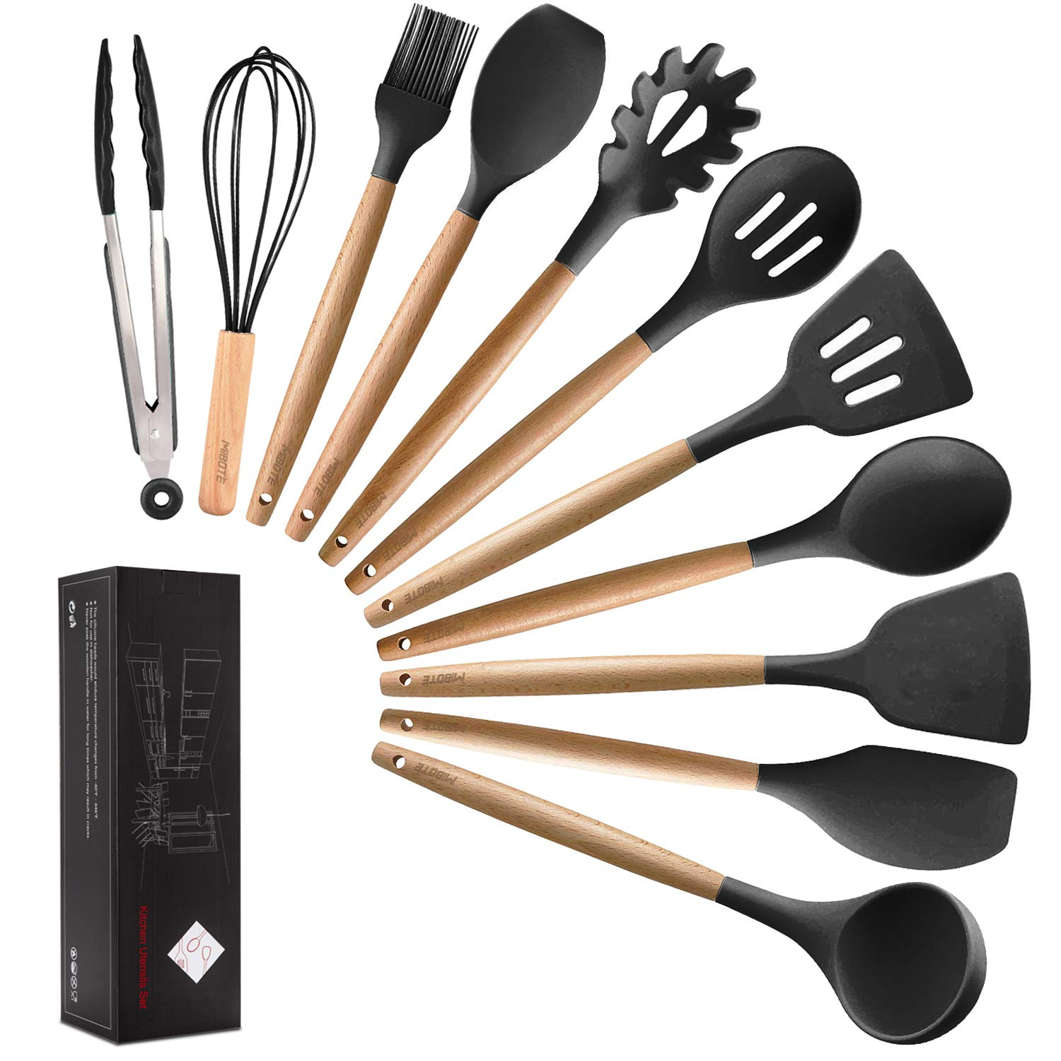 MIBOTE 11pcs Silicone Cooking Kitchen Utensils Set, Bamboo Wooden Handles Cooking Tool BPA Free Non Toxic Silicone Turner Tongs Spatula Spoon Kitchen Gadgets Utensil Set for Nonstick Cookware (Grey) by MIBOTE