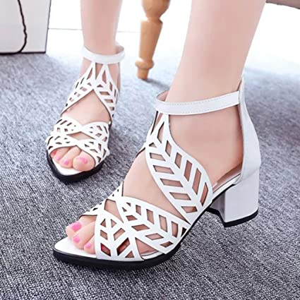 a0e3e3f46e4 Hemlock Office Wedge Sandals Shoes Women Mid Heels Bohemia Shoes Outdoor  Sandals Summer Slip On Shoes (US:6.5, White)