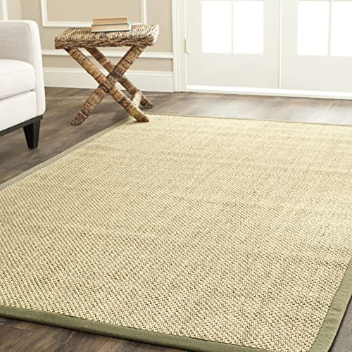 Safavieh Natural Fiber Collection NF443C Tiger Eye Natural and Green Sisal Area Rug 8 x 10