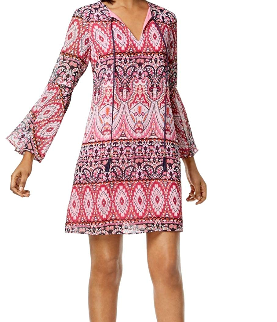 Pink Multi Vince Camuto Womens Printed Bell Sleeves Shift Dress