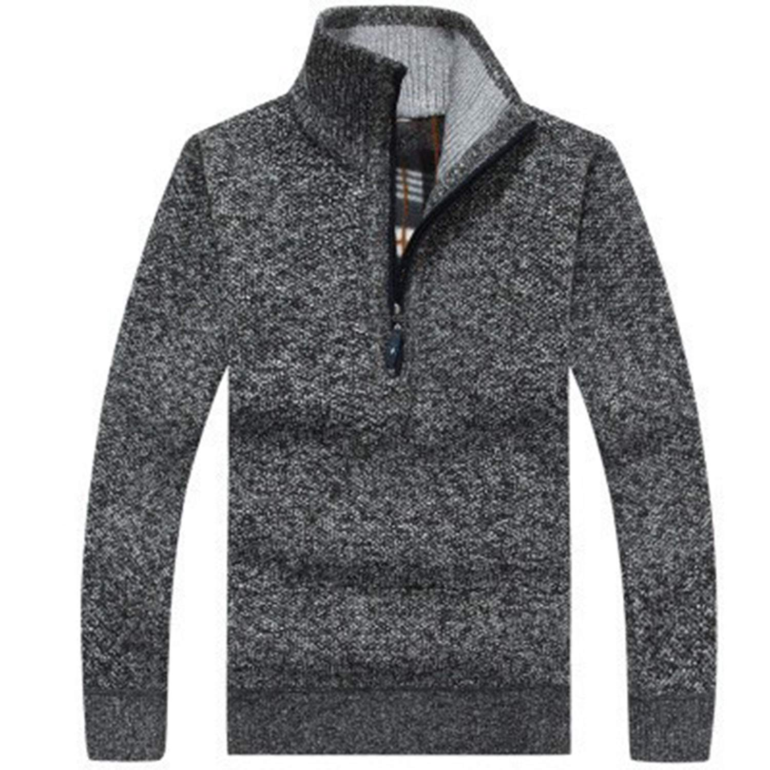 Mens Zipper Sweater Pullovers Slim Fit Thick Sweaters Male Knitted Pullover