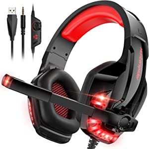 CLEVO Gaming Headset, PC Headphone with Microphone Stereo Sound for PS4 Xbox One PC Noise Cancelling Over-Ear Headphones with Mic 3.5mm Jack Volume Control LED Light