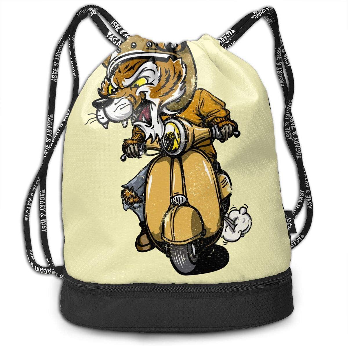 Zol1Q Lightweight Waterproof Large Storage Drawstring Bag for Men /& Women Riding Tiger Cinch Backpack Sackpack Tote Sack