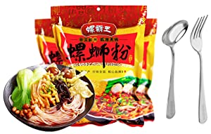 LUO BA WANG Brand Instant Rice Noodle-Luo Si Rice Noodles With Orignal Soup Base Flavor - 正宗广西柳州特产螺霸王螺蛳粉原味(Net Weight:280g Pack Comes with Free Inspiration NY Fork and Spoon) (6 Pack)