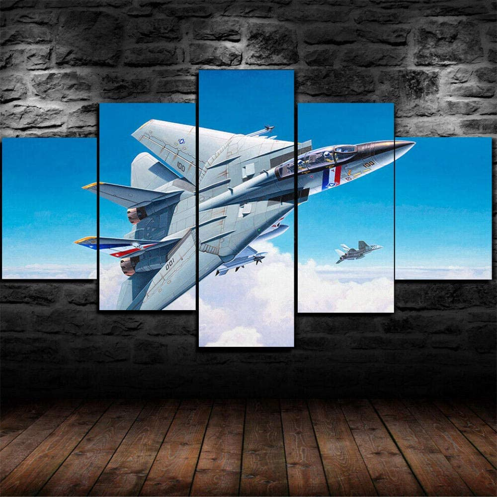 HJYL- Christmas Modern Wall Art Hd Print Framed Painting 5 Canvas Pictures - Grumman F-14 Tomcat Painting Poster Print Wall Art - Hang in The Living Room and Bedroom for Home Decoration