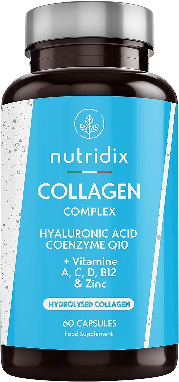 Colágeno + Ácido Hialurónico - Colágeno Hidrolizado para Piel, Pelo y Articulaciones - Vitamina C, A, D, B12, Coenzima Q10 y Zinc - 60 cápsulas Nutridix