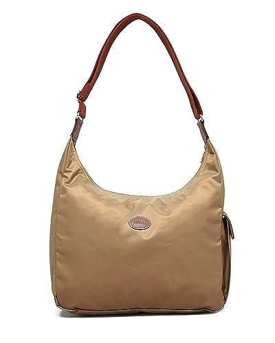 Longchamp Nylon Shoulder Hobo Handbag - Le Pliage (Beige)