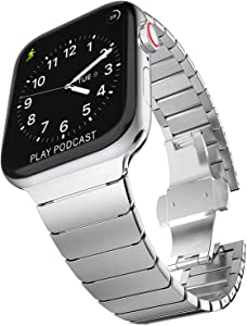 Surace Stainless Steel Link Bracelet Replacement for Apple Watch Bands 44mm Series 4 Series 5 Series 6 with Butterfly Folding Clasp Compatible with Apple Watch Bands 42mm iWatch SE, Silver