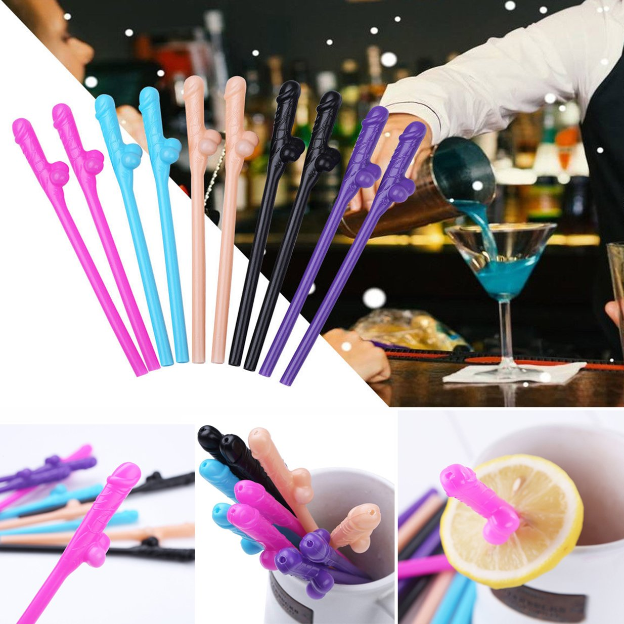 6 Straws Per Color,5 Colors 30PCS Bachelorette Party Drinking Straws Fun Shape Props for Naughty Party Girls Night Out Party Supplies Wedding Party Hen Party