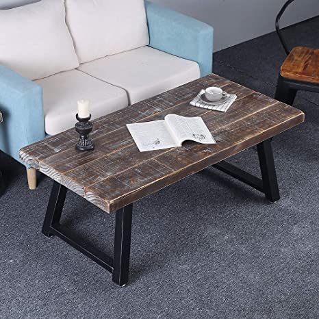 Rustic Coffee Table Reclaimed Wood Metal Legsmid Century Modern Coffee Table For Living Roomindustrial Solid Wooden Farmhouse Coffee And End Table
