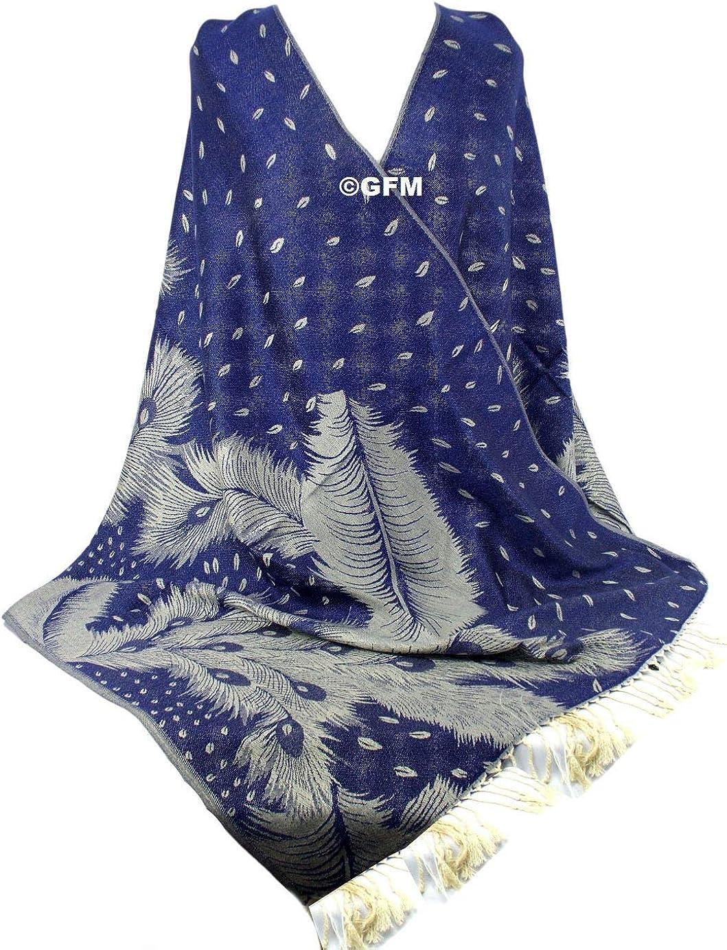 Pckpash GFM/® Sciarpa di stile Pashmina di disegno della piuma del pavone