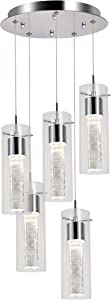 Hykolity 5-Light Pendant Ceiling Fixture, Integrated LED Kitchen Lighting, 30W (180 Watt Equivalent) CRI 90+, 2250lm Premium Bubble Glass with Chromed Finished ETL Listed